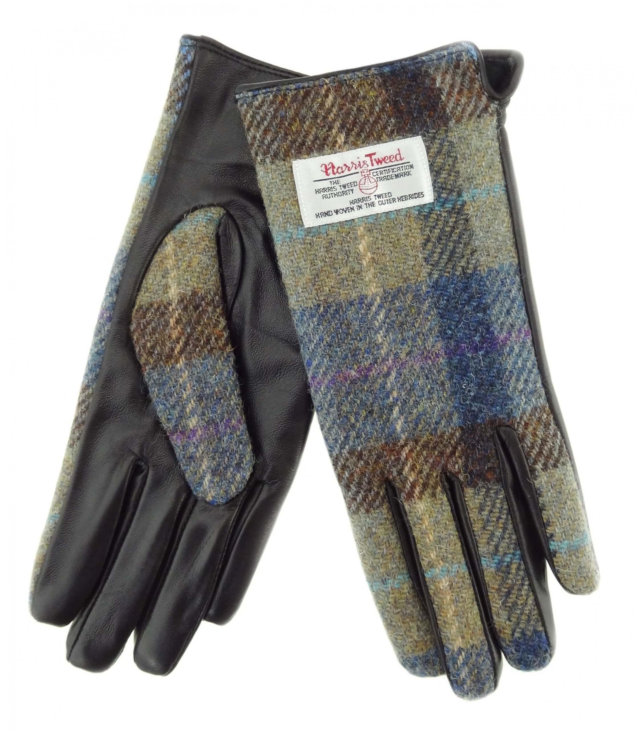 Ladies Green Check Harris Tweed Gloves