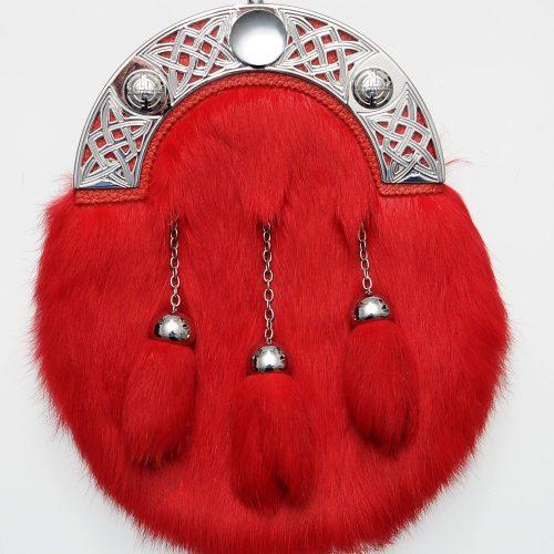 Dress Red Rabbit Fur Sporran