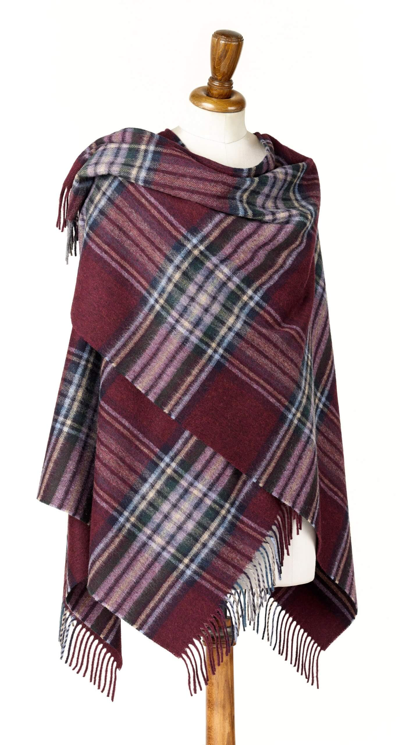 Ingleborough Burgundy Ladies Lambswool Shawl/Cape