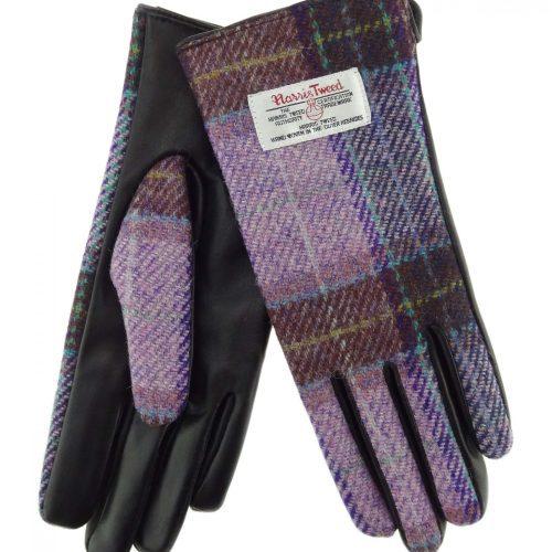 Ladies Pink Check Harris Tweed Gloves