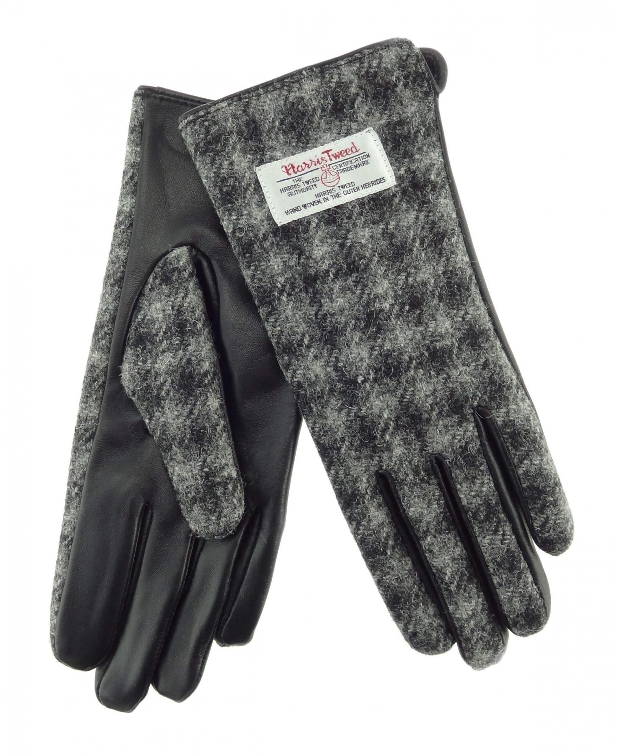 Ladies Grey/Black Check Harris Tweed Gloves