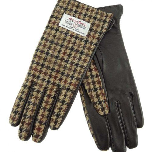 Ladies Brown Dogtooth Harris Tweed Gloves