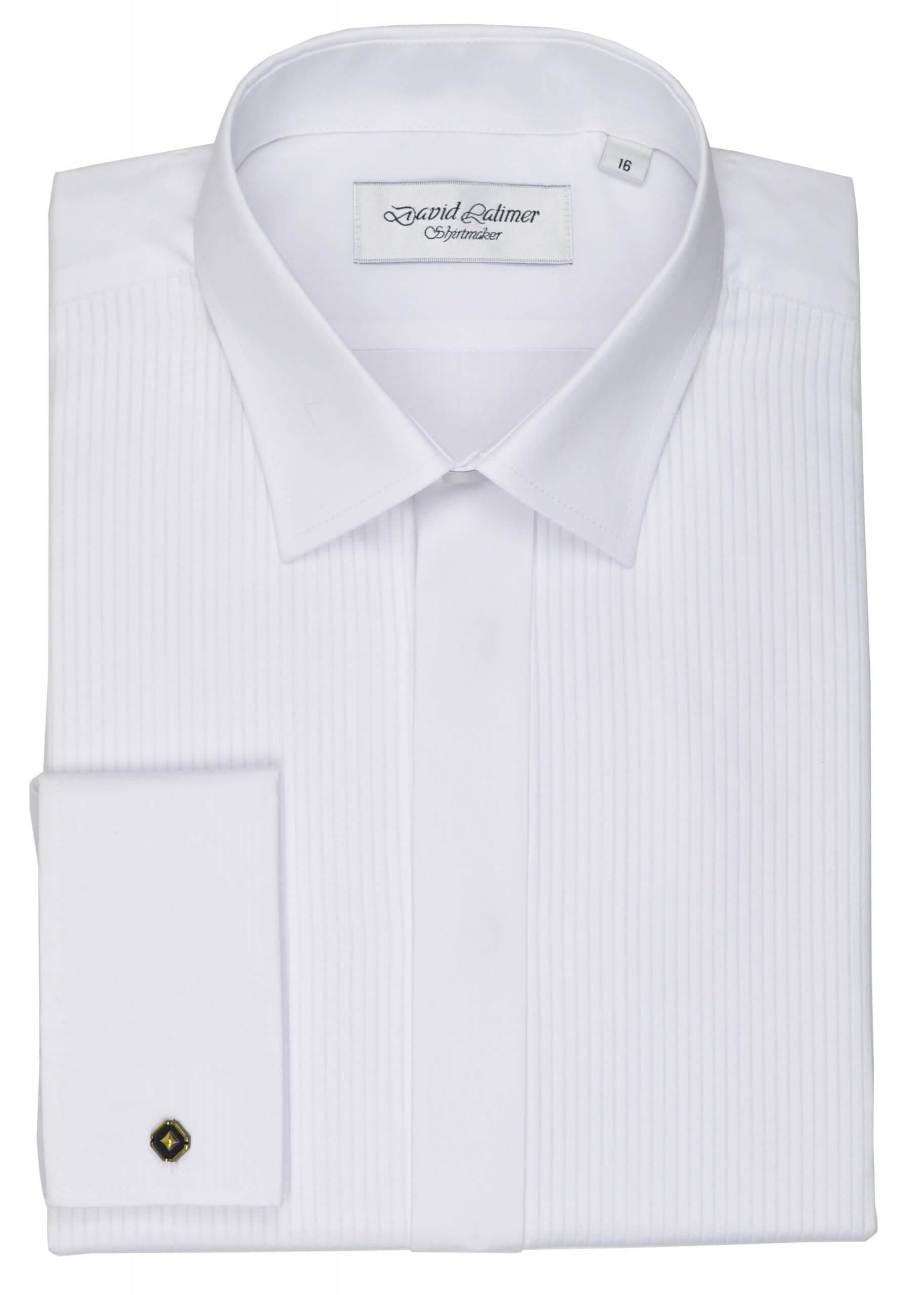 Pleated Front Dress Shirt, in Standard or Wing Collar