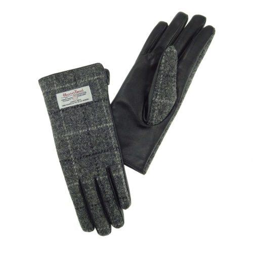Ladies Grey Check Harris Tweed Gloves