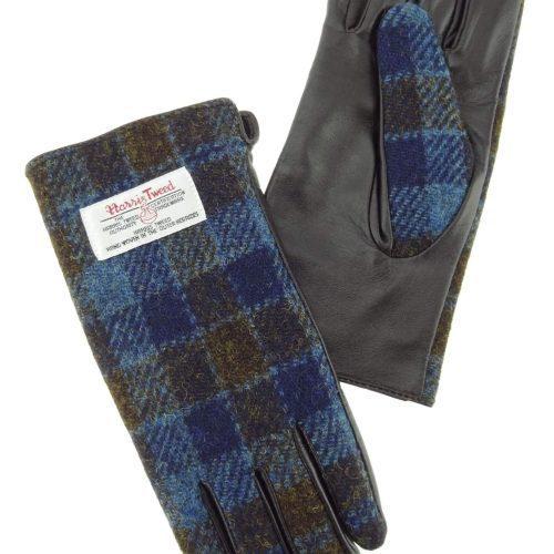 Ladies Blue Check Harris Tweed Gloves