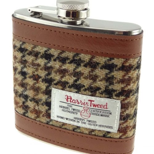 Harris Tweed Dogtooth Hipflask