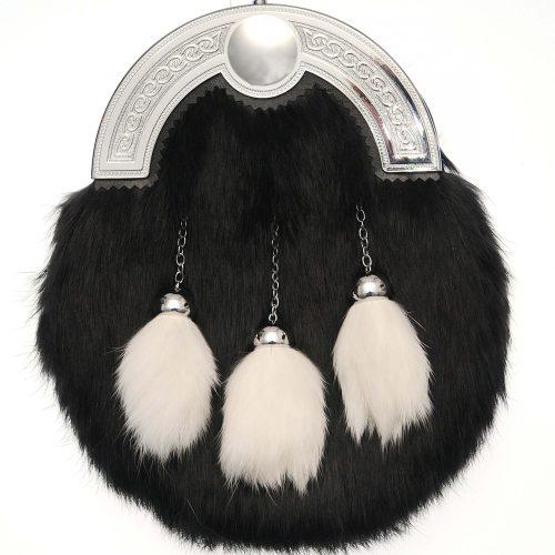 Dress Black Rabbit Fur Sporran with White Tassels