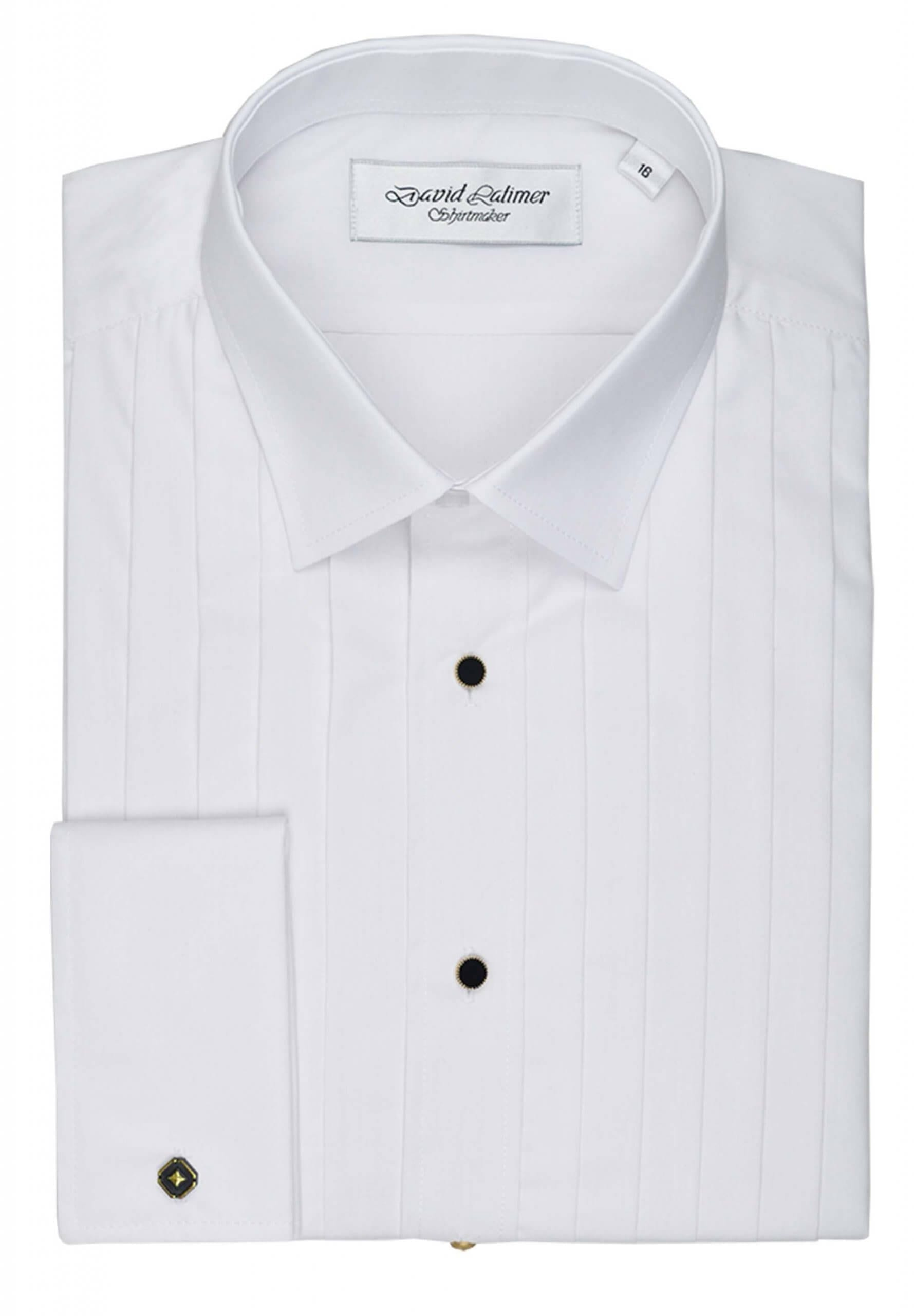 Pleated Front Dress Shirt with Studs, in Standard or Wing Collar
