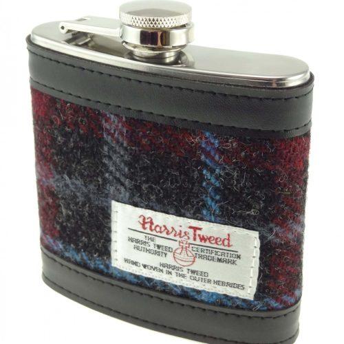 Harris Tweed Red and Black Hipflask