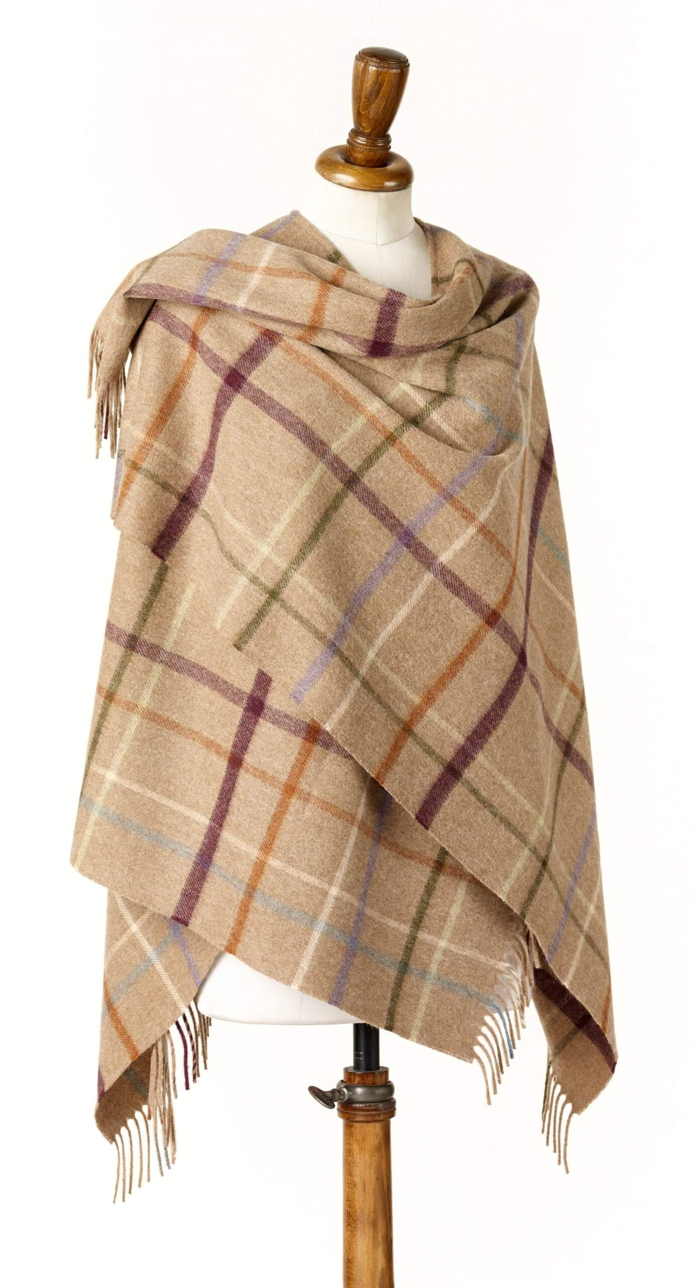 Litton Camel Ladies Lambswool Shawl/Cape
