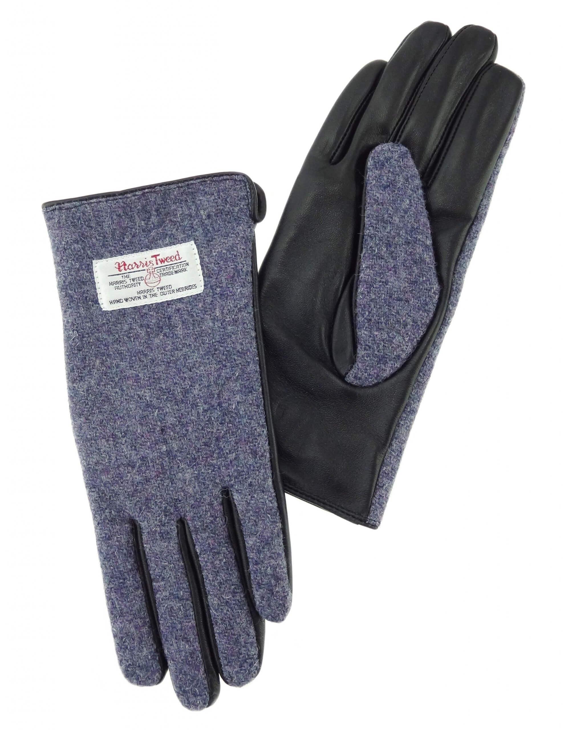 Ladies Purple Harris Tweed Gloves