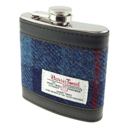 Harris Tweed Blue Hipflask