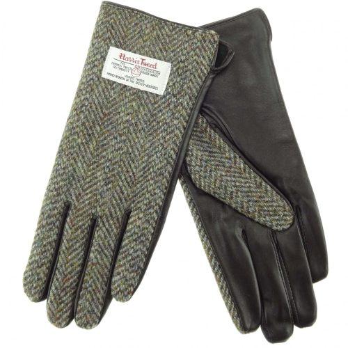 Ladies Green Harris Tweed Gloves
