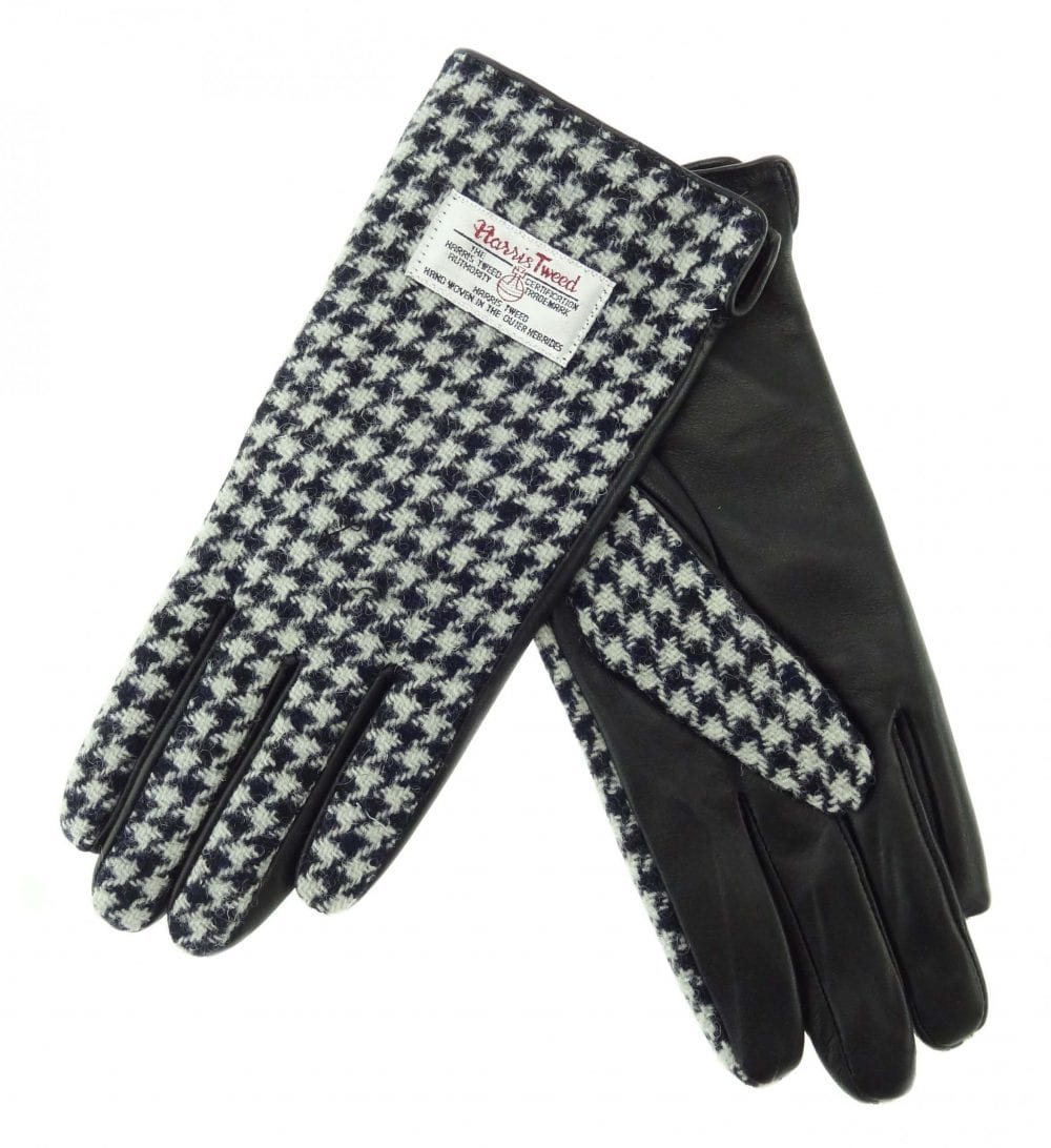 Ladies Black Dogtooth Harris Tweed Gloves