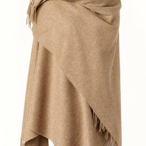 Ladies Camel Lambswool Shawl/Cape