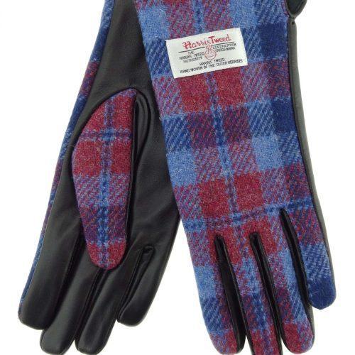 Ladies Red/Blue Check Harris Tweed Gloves