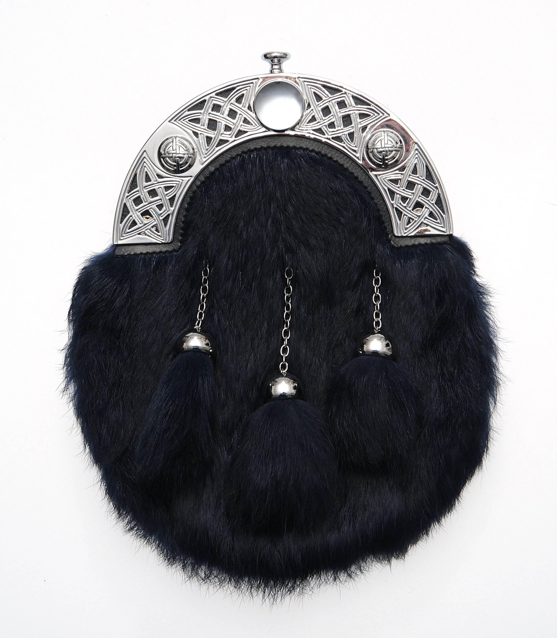 Dress Navy Rabbit Fur Sporran
