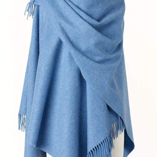 Ladies Ocean Blue Lambswool Shawl/Cape
