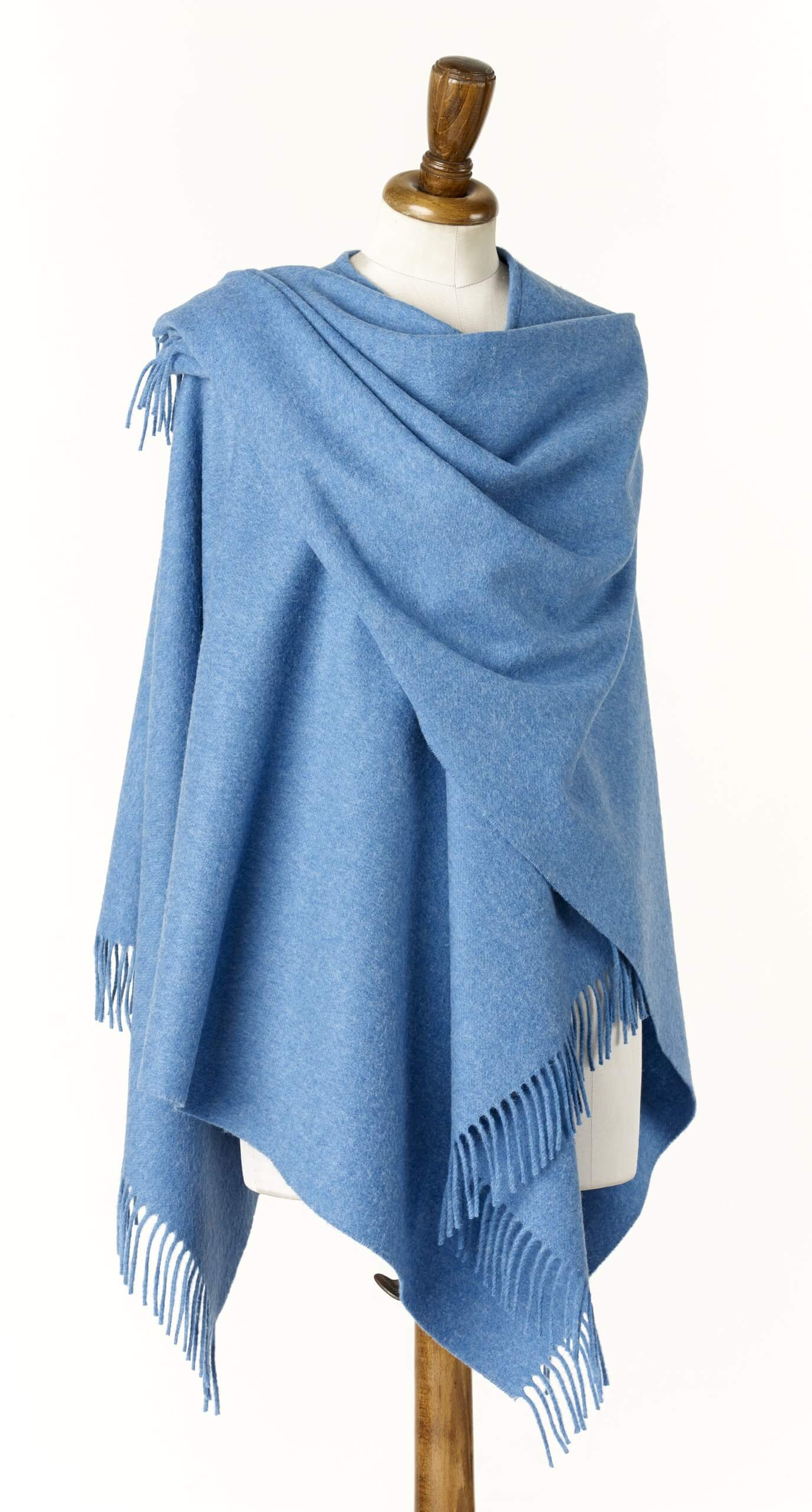 Ladies Ocean Blue Lambswool Shawl/Cape