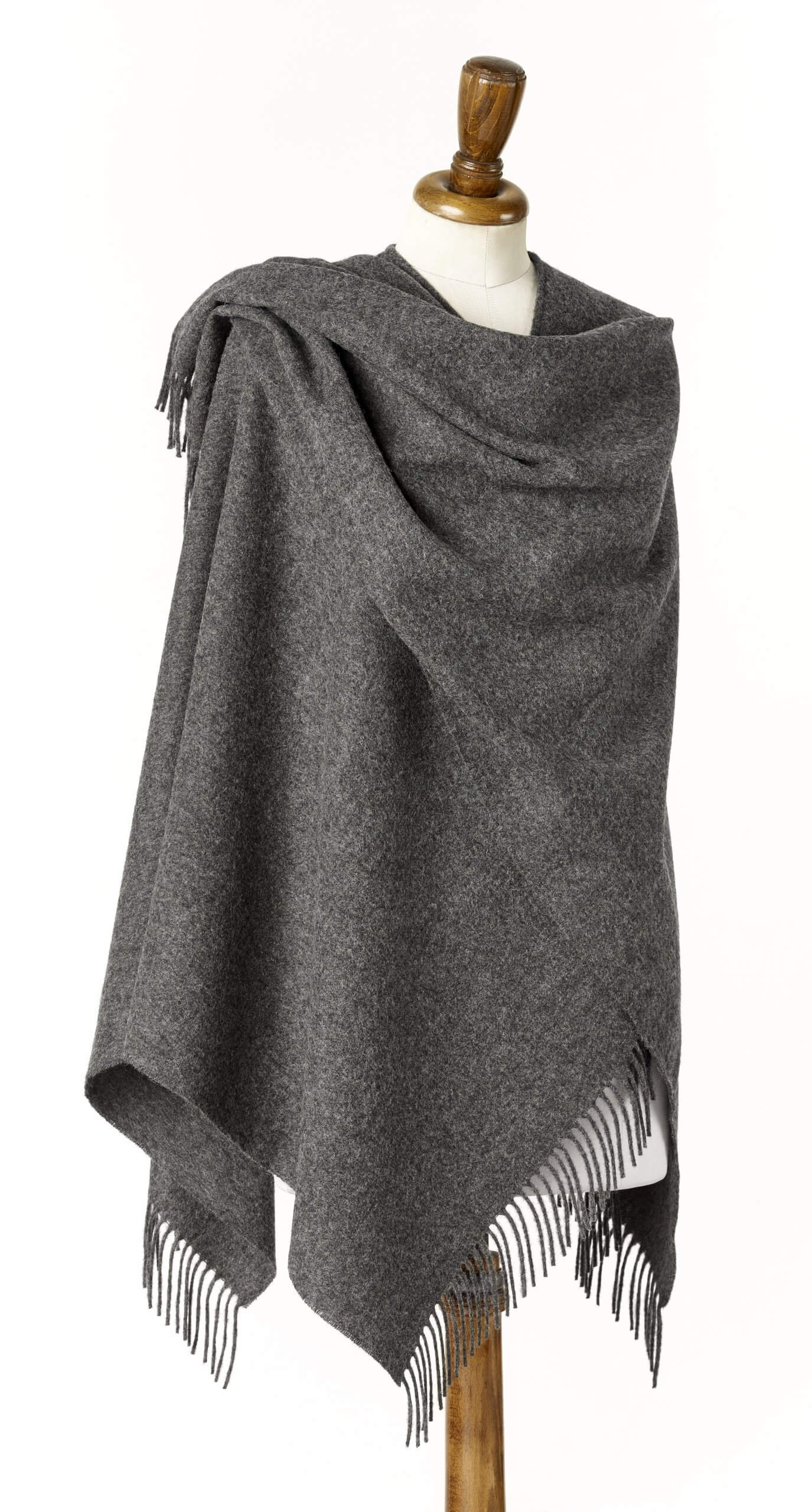 Ladies Grey Lambswool Shawl/Cape