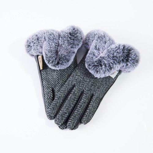 Ladies Harris Tweed Black Fur Gloves