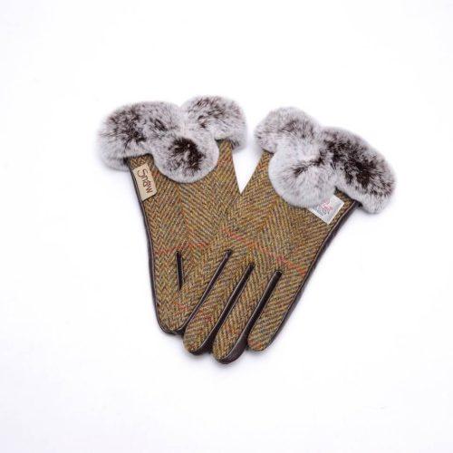 Ladies Harris Tweed Brown Fur Gloves