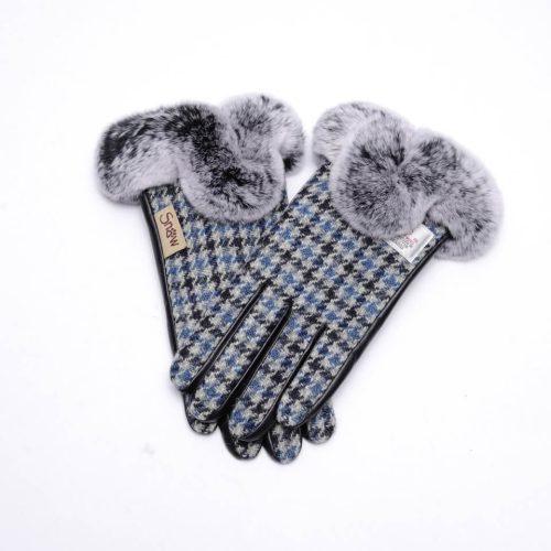 Ladies Harris Tweed Blue Dogtooth Fur Gloves