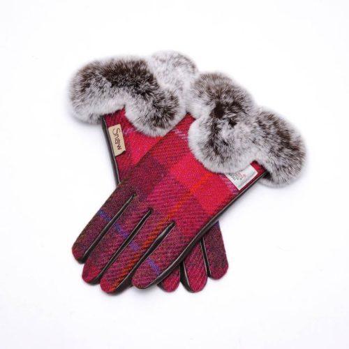 Ladies Harris Tweed Pink Fur Gloves
