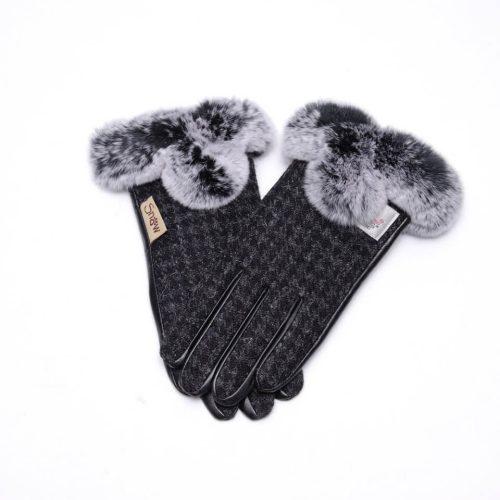 Ladies Harris Tweed Charcoal Fur Gloves