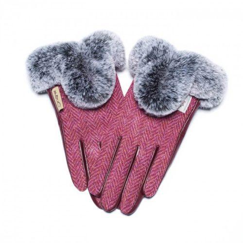 Ladies Harris Tweed Maroon Fur Gloves