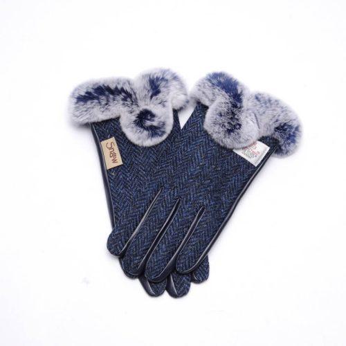 Ladies Harris Tweed Blue Fur Gloves
