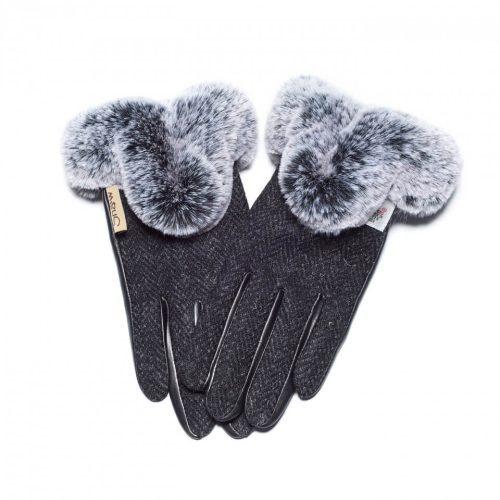 Ladies Harris Tweed Dark Black Fur Gloves