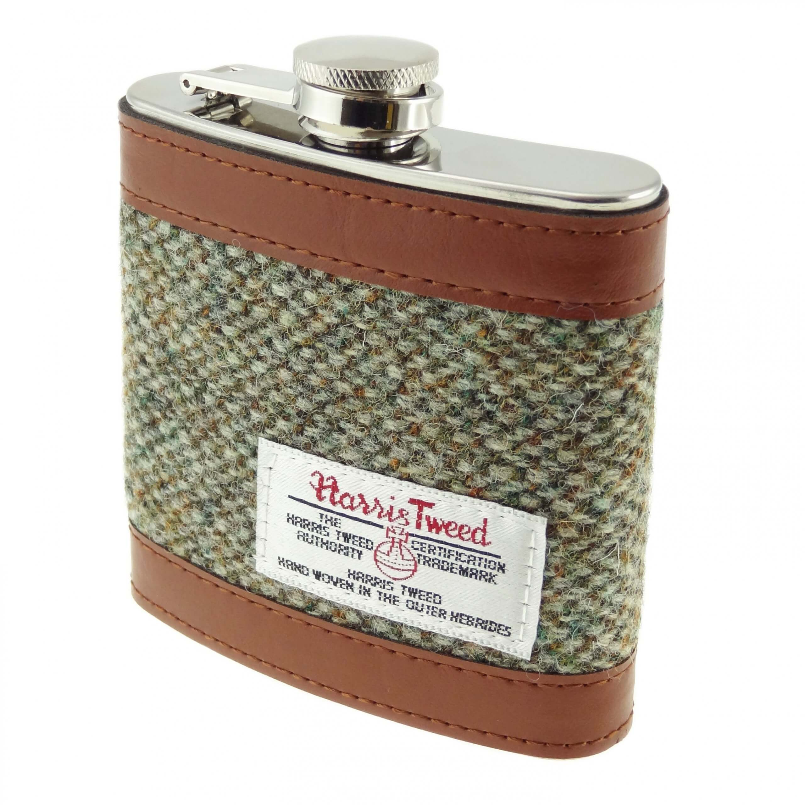Harris Tweed Green Hipflask