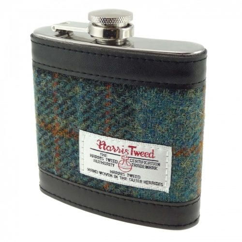 Harris Tweed Green Check Hipflask