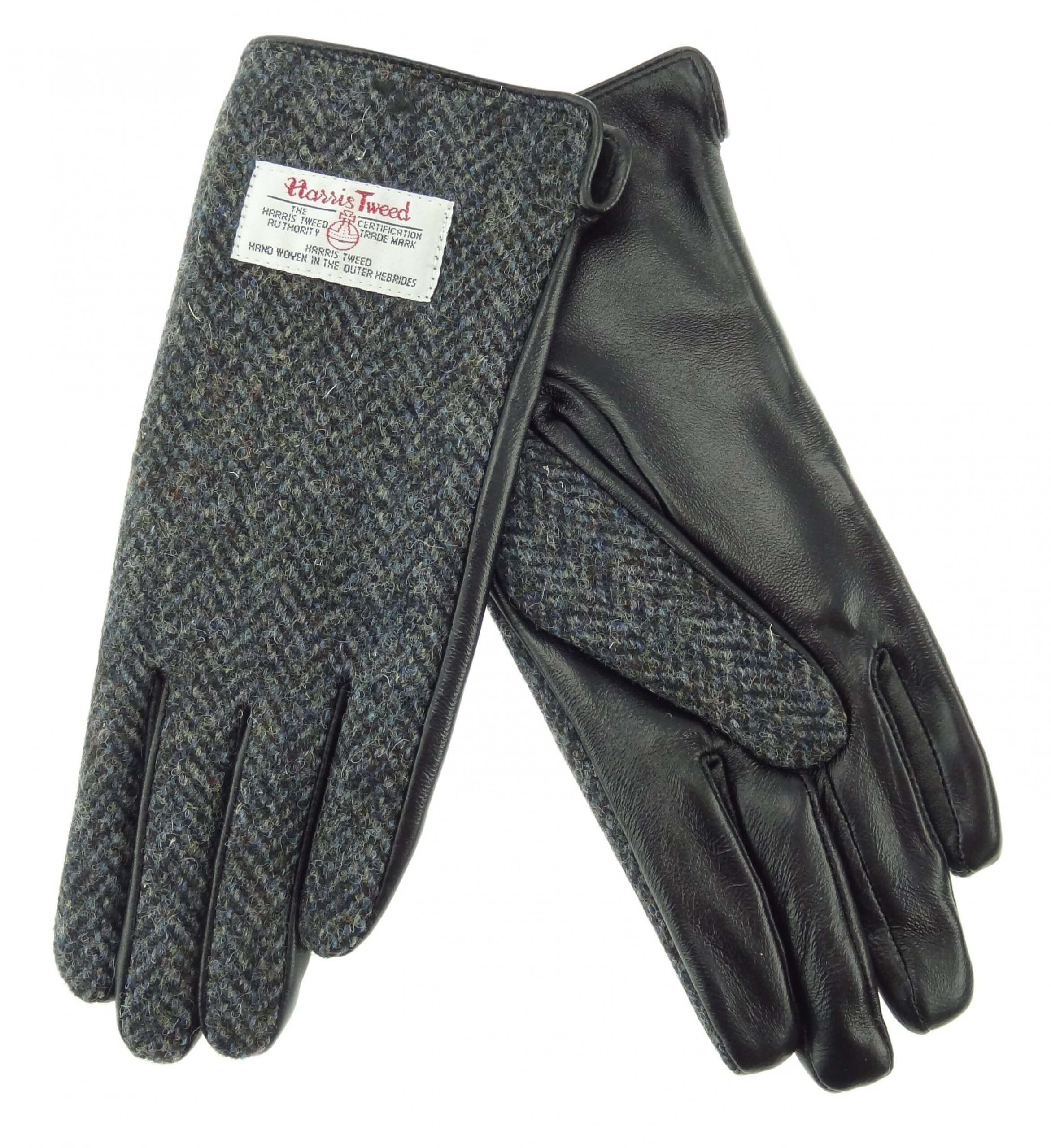 Ladies Grey Herringbone Harris Tweed Gloves