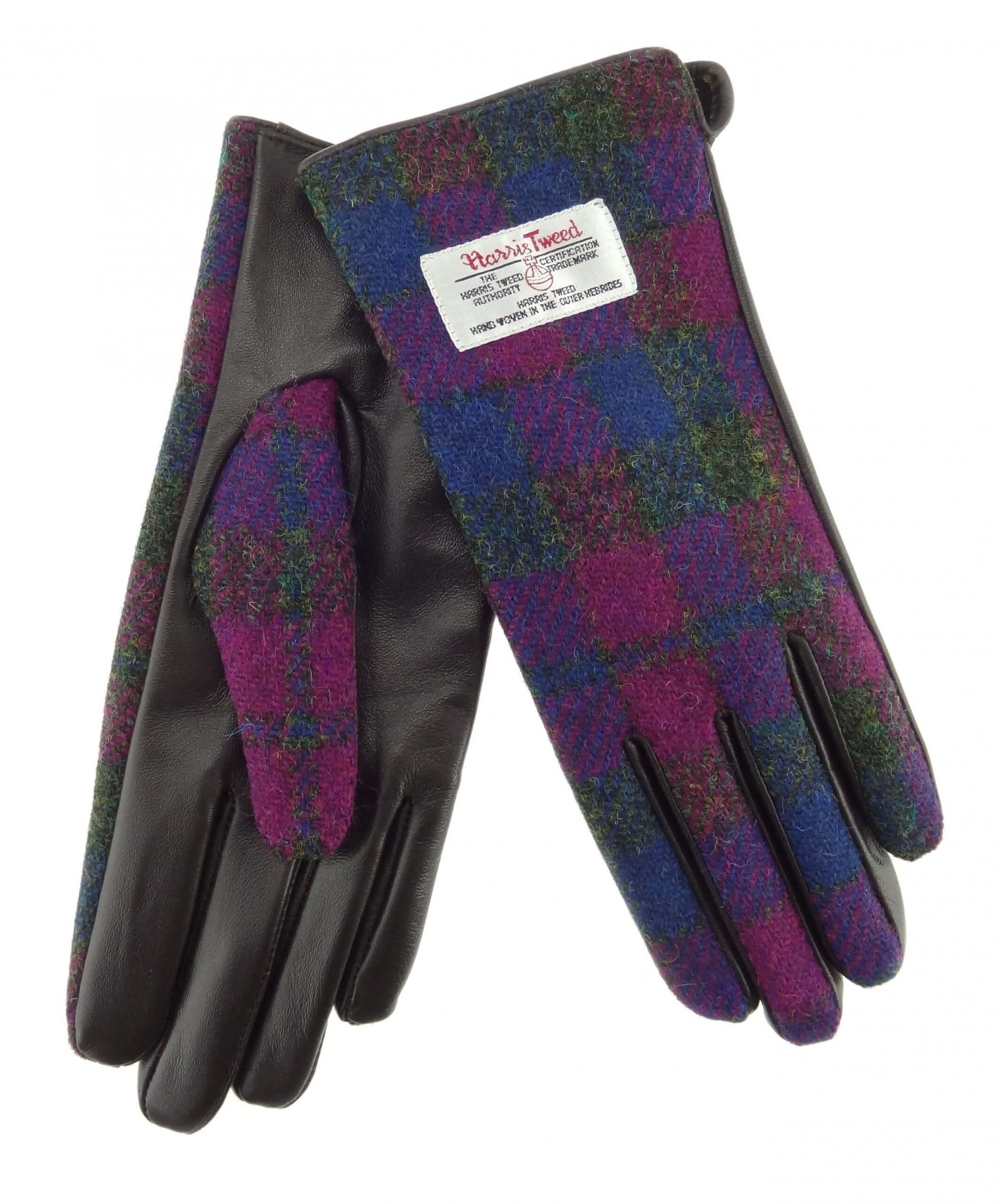 Ladies Pink/Blue Check Harris Tweed Gloves