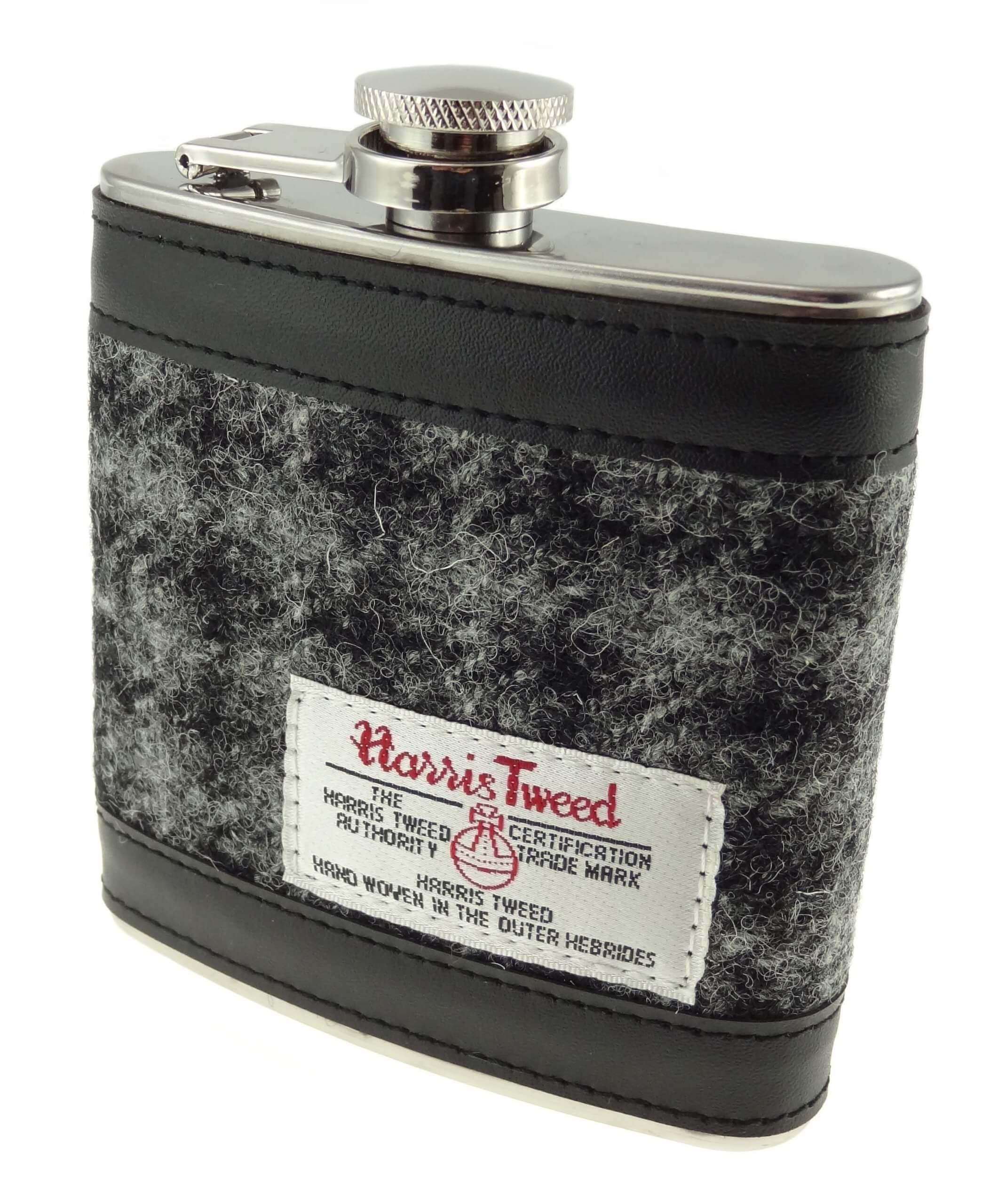 Harris Tweed Grey Check Hipflask