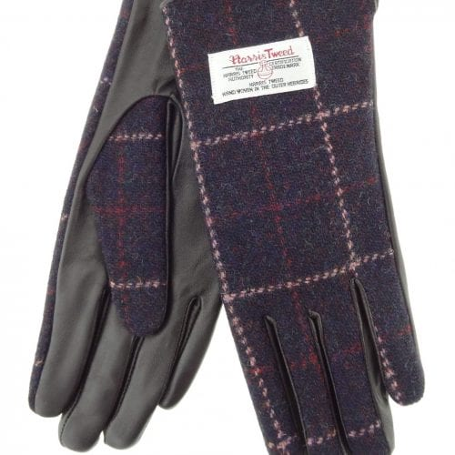 Ladies Purple Check Harris Tweed Gloves