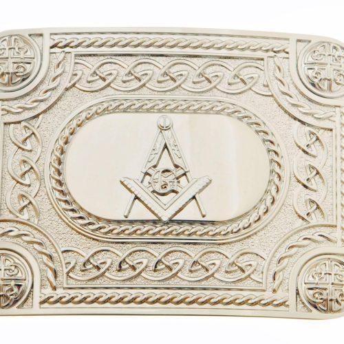 Kilt Buckle - Celtic Masonic Chrome